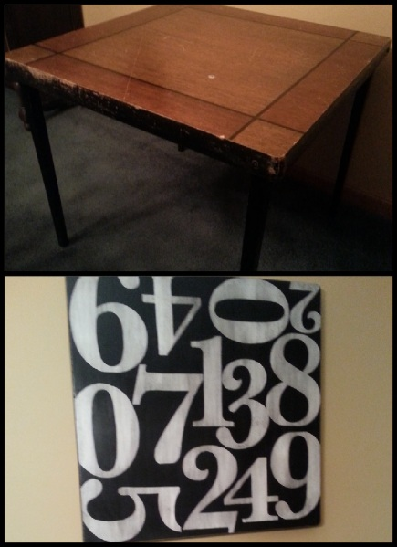 Old, wooden card table to funky numbered wall art that I can pull down and still use as a table!